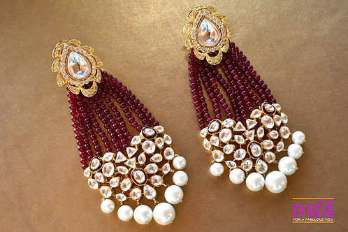 Gorgeous Red Tassel Earring with Kundan