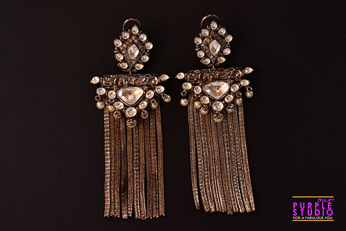 Smart Indo Western  Kundan Stud with Antique Chain Tassel