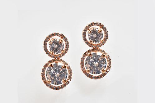 Double Star Studded Rose Gold Earrings