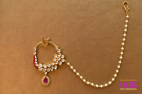 Bridal Nath in Kundan with Pink Stone Drop