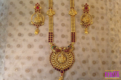Laxmiji Temple Jewelry in Gold and Ruby