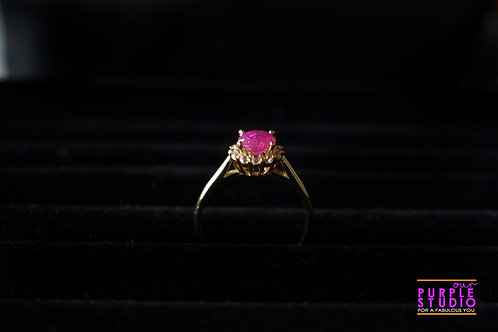 Pink Stone Ring with a White Stone Halo