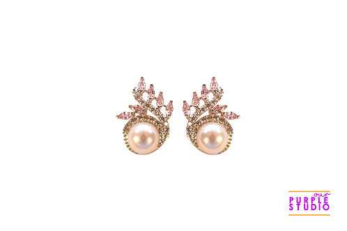 Pearl Stud with Pink CZ Stones