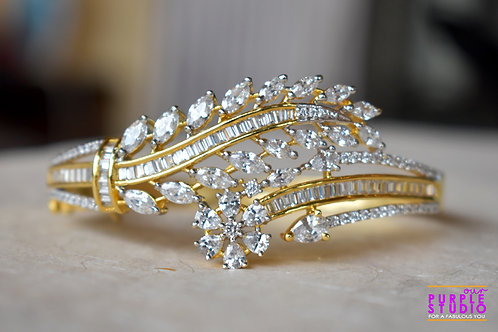 Golden Bracelet with White  CZ Stone