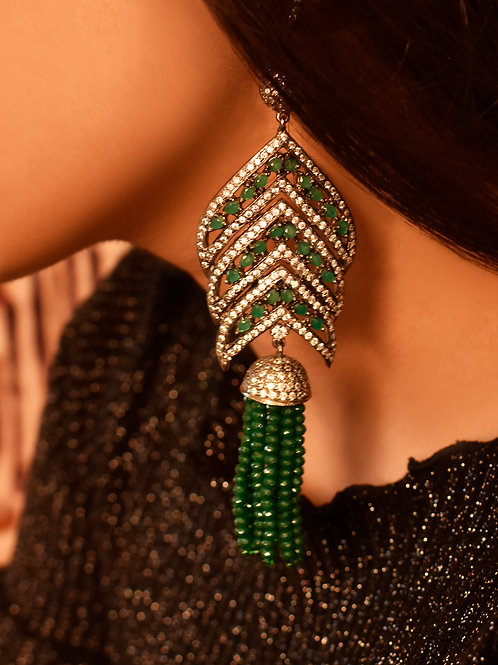 Graceful Indo Western Antique CZ  Danglers in White and Green stones