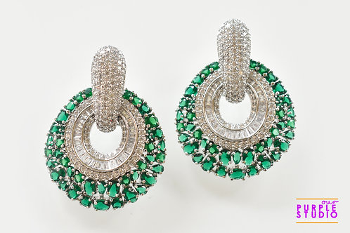 Envious Party Wear Earrings with Green and White AD stones