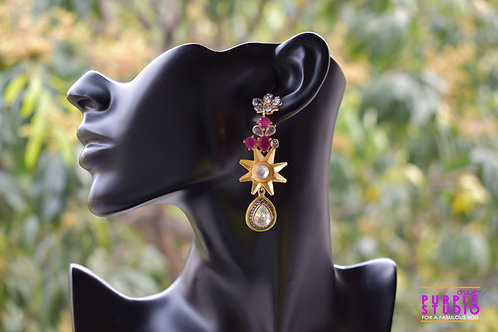 Handcrafted Star Studded Party Wear Kundan Danglers