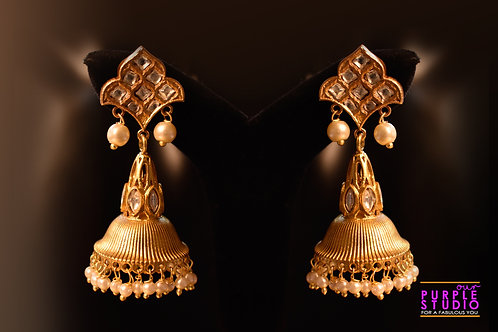 Statement Golden Jhumka in Rich Kundan Stones and Pearl Drops