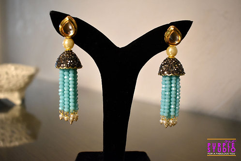 Ravishing Blue Bead Kundan Tassel Earring