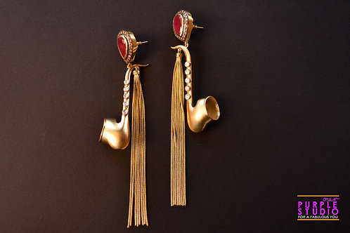 Graceful Indo Western Golden Danglers