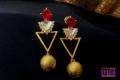 Beautiful Triangle Danglers with Golden Ball Drop.