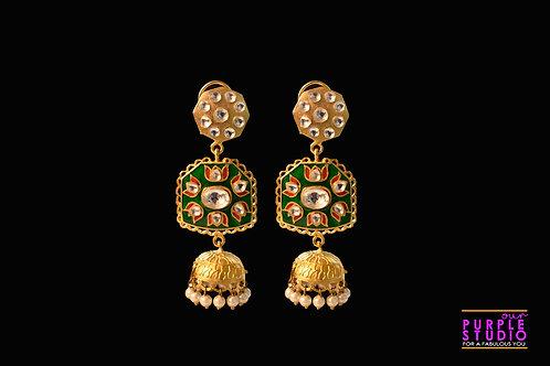 Gorgeous Hand painted Kundan Earring