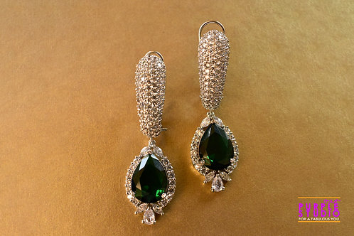 Stunning Party Wear White and Green AD Danglers