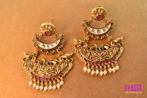 Exquisite Golden Kundan Danglers with soft Pearls