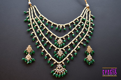 Royal Multi Layered Long Necklace Set with Green Beads and Kundan Stones
