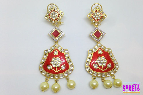 Beautiful Bridal Long Red Earrings in Kundan