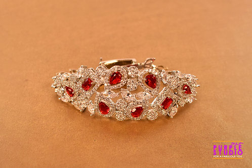 Princess Bracelet in White and Red CZ Stone