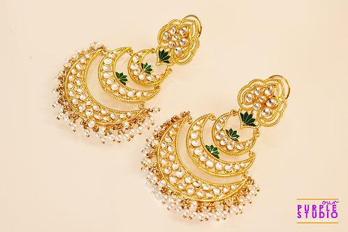 Gorgeous Sleek Golden  Kundan Chandbali with a touch of Green
