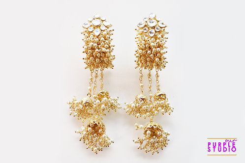 Golden Pearl and Kundan Danglers with Mutiple Jhumkas