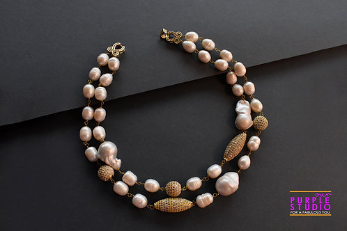 Two Layered Gorgeous Pearl Necklace with antique golden balls