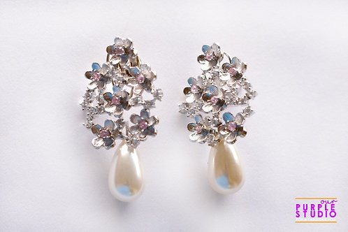 Silver Flower Earring with Pearl Drop