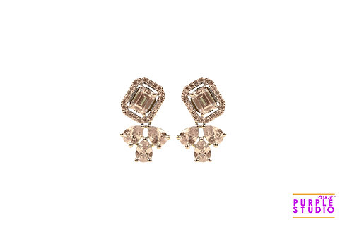 Square CZ Stud Earring with petals