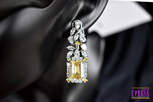 Cocktail Earring in Yellow with setting of CZ Stone
