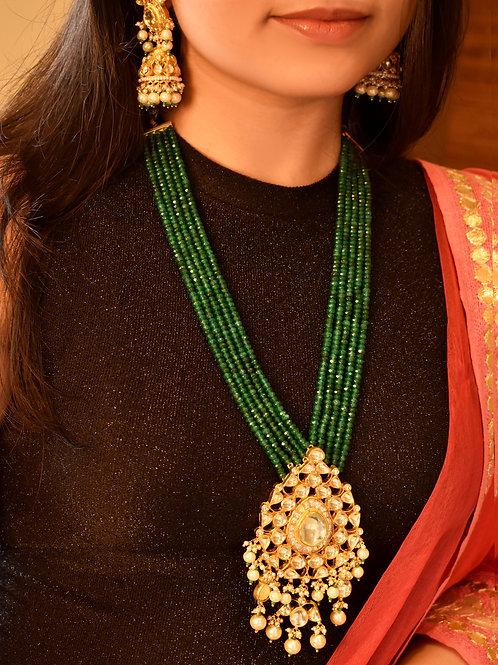 Royal  Long Emerald Beads and Kundan Necklace Set
