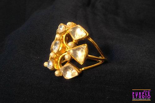 Adjustable Fusion Kundan Ring