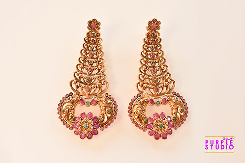 Temple Earring in Golden with Ruby and Green Color Stones