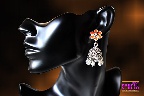 Orange Silver Color Jhumka