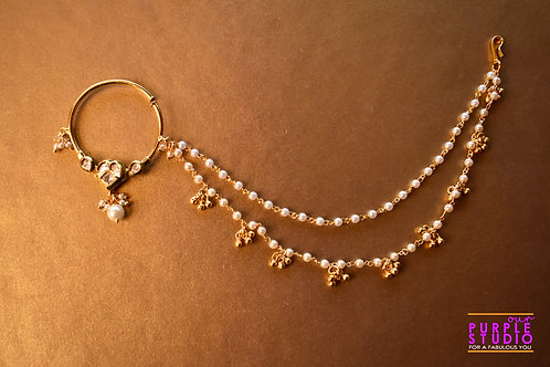 Bridal Golden Naath in Kundan with Pearl Drop
