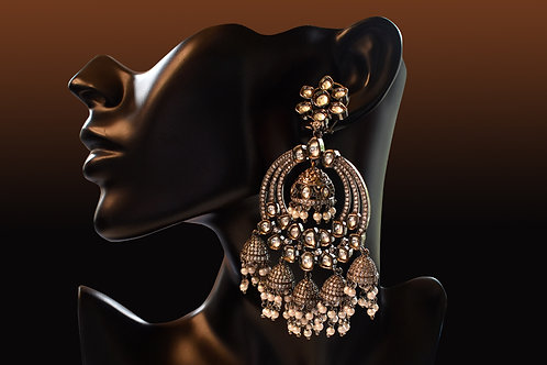 Graceful Indo Western Antique Kundan Chandbali with tiny jhumkas