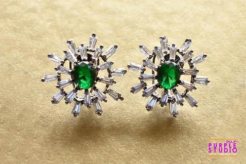 Gorgeous Stud in White and Green CZ stone