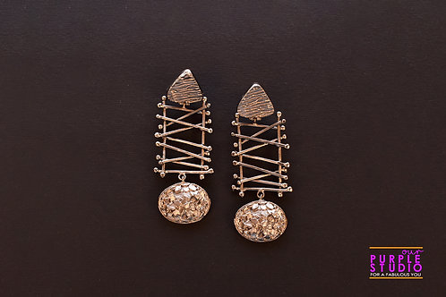 Smart Unconventional Black Danglers with Criss Cross Design