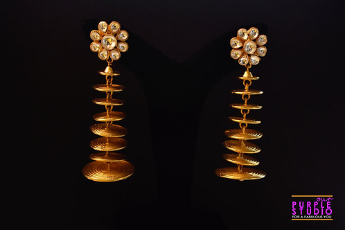 Statement Floral Kundan Studs with spiral fall