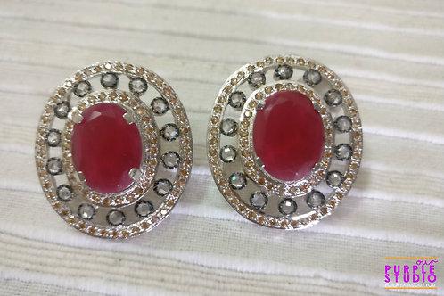 Oval Shaped Earring in Ruby