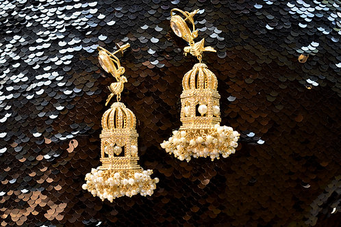 Golden Party Wear Bird on Cage Danglers