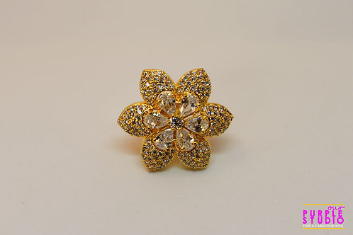 Golden  Floral Ring with White Petals