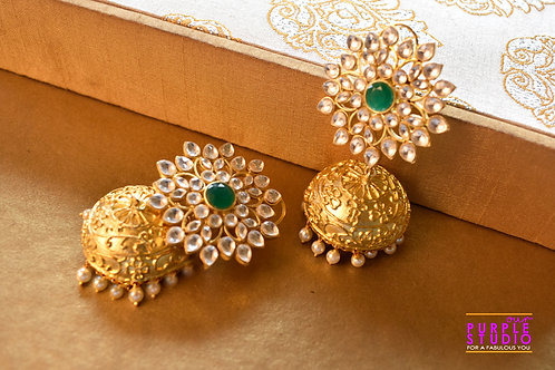 Exquisite Golden Kundan Jhumka with a touch of Green