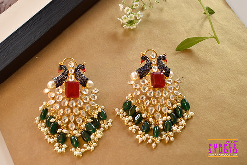 Exquisite Kundan Danglers with Peacock Motifs