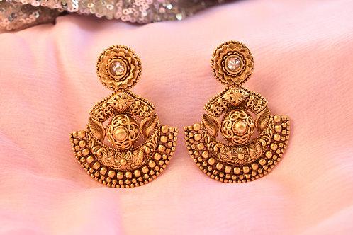 Exquisite Golden Kundan Danglers