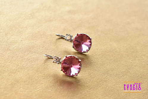 Light Wear Earring with Light Pink Colour Semi Precious Stone Drop