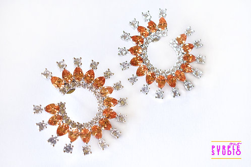 Sparkling Round Earrings in White and Rust CZ Stones