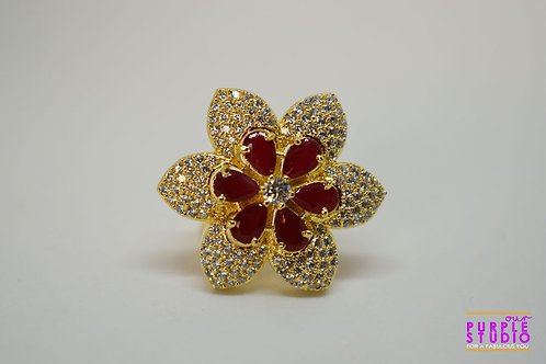 Sparkling Floral Ring with Red Petals