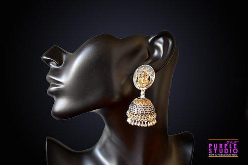 Double tone Silver Gold Jhumka