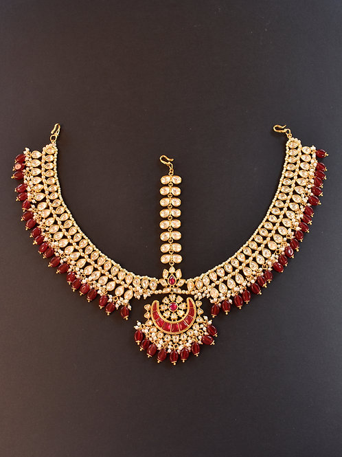 Gorgeous Kundan Maitha Patti with Red Beads