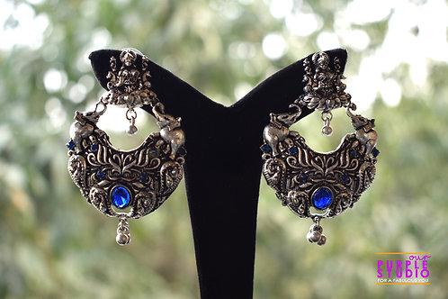 Silver Tone Lakshmi Ji Earrings