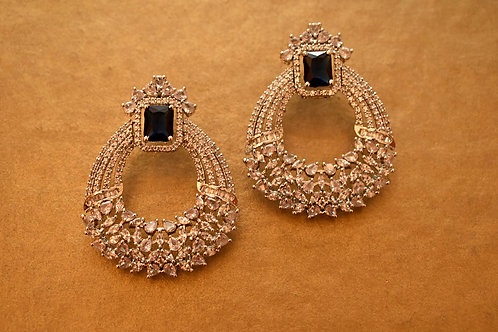 Gorgeous Party Wear Earrings with Blue and White AD stones