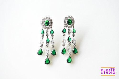 Statement  Silver Tone Earring  in Green Semi Precious Stone